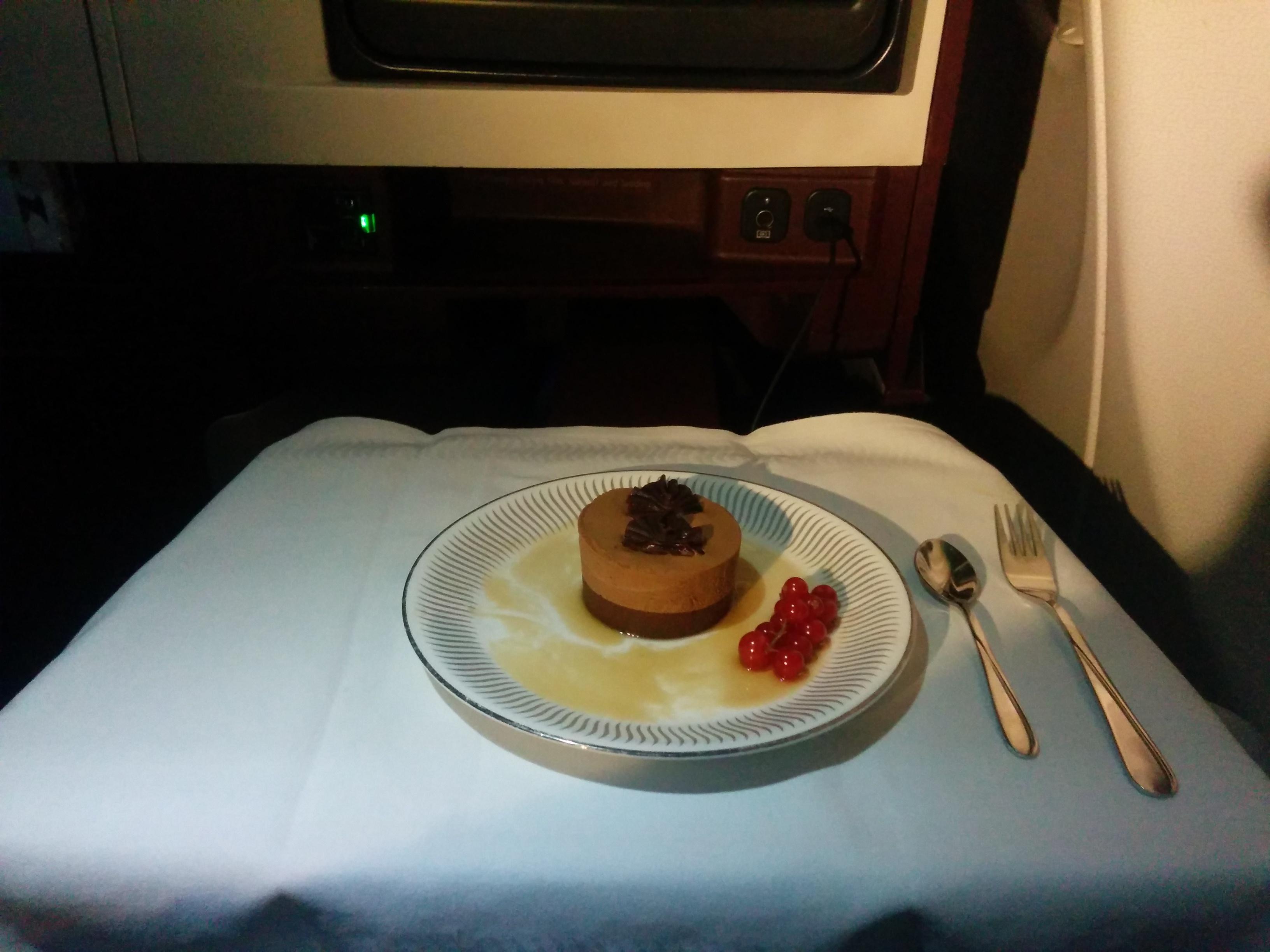 Dessert in Jet Airways Business Class