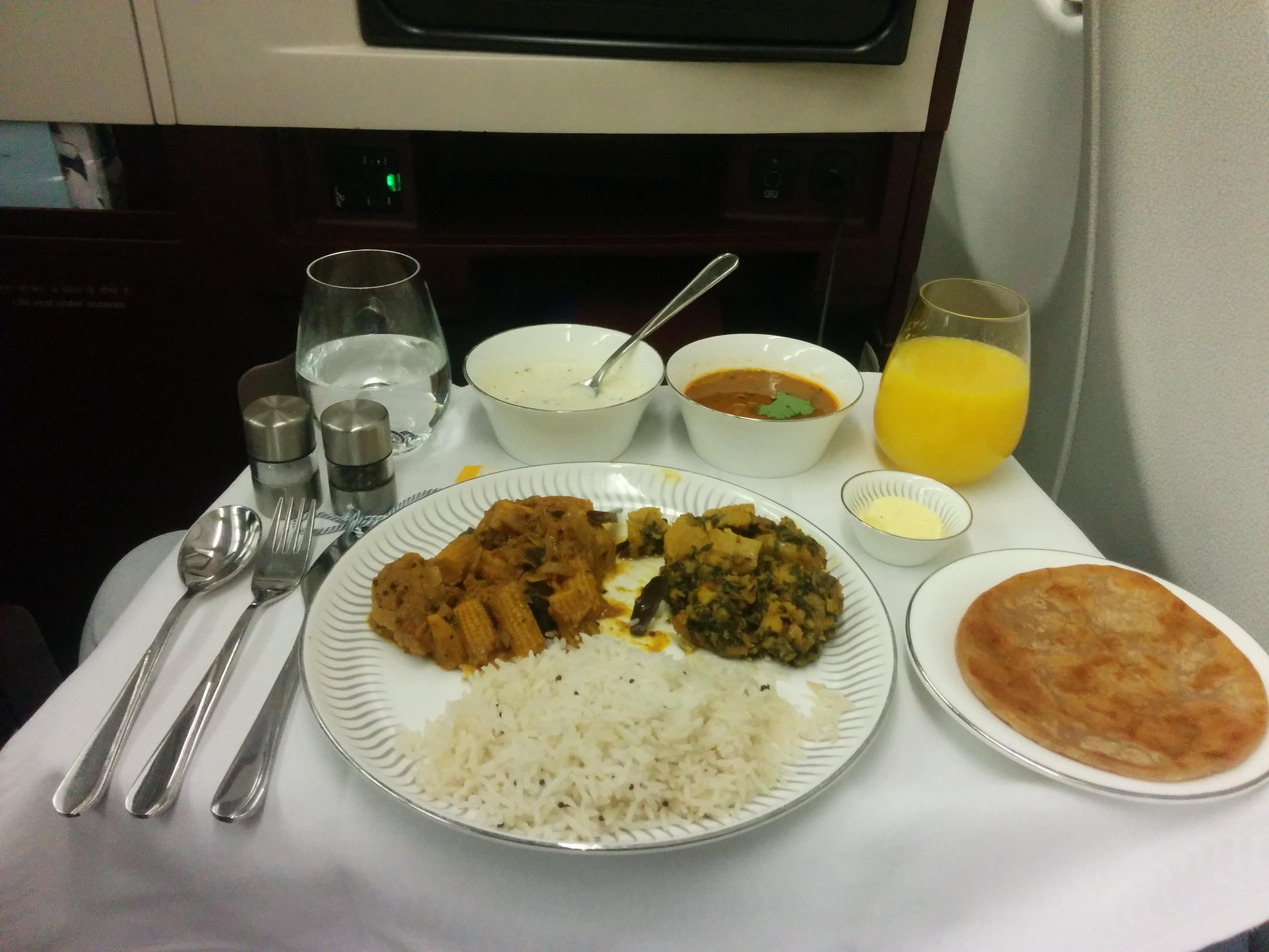 Lunch in Business Class Flight - Jet Airways