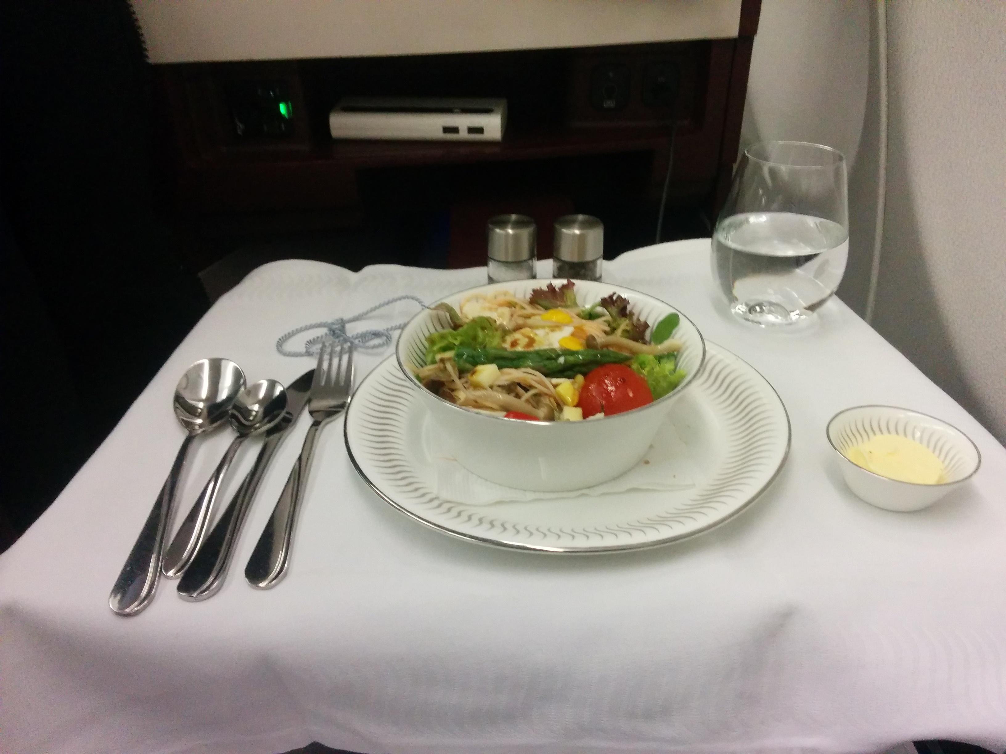 Salad in Jet Airways Business Class Flight